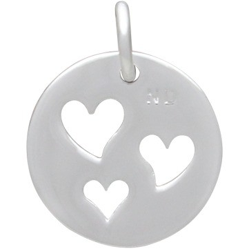Round Charm with 3 Heart  Silver Plated Bronze DISCONTINUED