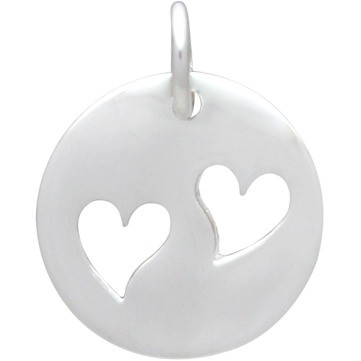 Round Charm with 2 Heart  Silver Plated Bronze DISCONTINUED