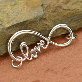 Infinity Charm Love Script Silver Plated Bronze DISCONTINUED