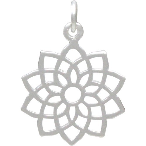 Crown Chakra Charm - Silver Plated Bronze 22x15mm
