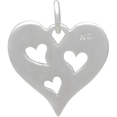 Heart Charm with 3 Heart Silver Plated Bronze DISCONTINUED