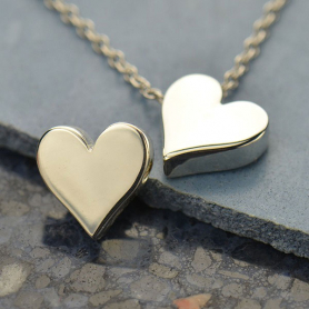 Large Heart Bead - Silver Plated Bronze DISCONTINUED