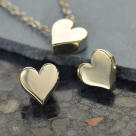 Small Heart Bead - Silver Plated Bronze DISCONTINUED