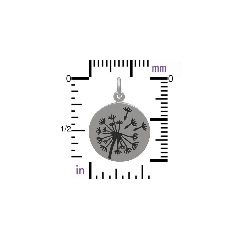 Big Dandelion Charm - Silver Plated Bronze 20x15mm