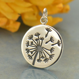 Big Dandelion Charm - Silver Plated Bronze 20x15mm