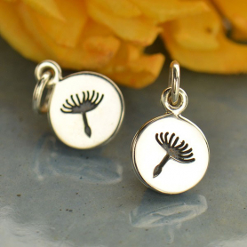 Small Single Dandelion Charm -  Silver Plated Bronze 14x8mm