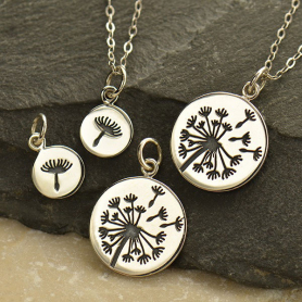 Big and Little Dandelion Set -Silver Plate Bronze 21x15mm
