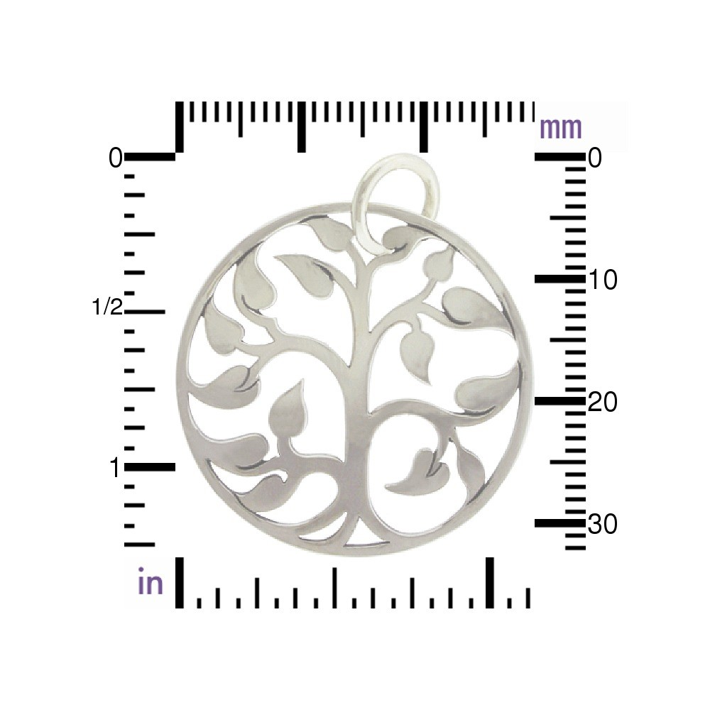 Large Tree of Life Pendant - Silver Plated Bronze 34x30mm
