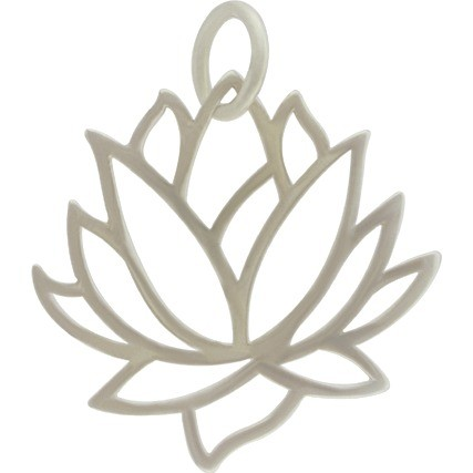 Large Lotus Pendant - Silver Plated Bronze 35x31mm