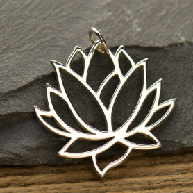 Large Lotus Pendant - Silver Plated Bronze
