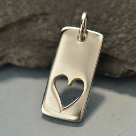 Rectangle Charm with Heart Silver Plated Bronze DISCONTINUED