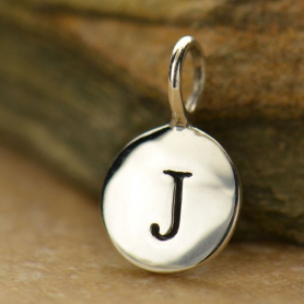 Intial Charms Letter J - Silver Plated Bronze DISCONTINUED