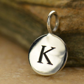 Intial Charms Letter K - Silver Plated Bronze DISCONTINUED