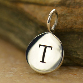 Intial Charms Letter T - Silver Plated Bronze DISCONTINUED