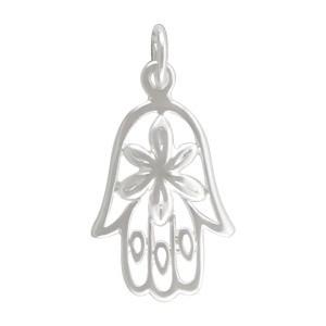 Hamsa Hand Charm w Flower - Silver Plate BronzeDISCONTINUED