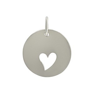 Round Charm with One Heart Cutout - Silver Plated Bronze