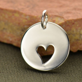 Charm w One Heart Cutout Silver Plate Bronze DISCONTINUED