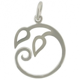 Pendant w Two Curled Vines- Silver Plate Bronze DISCONTINUED