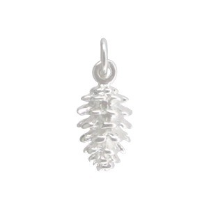 Pinecone Charm - Silver Plated Bronze 17x7mm