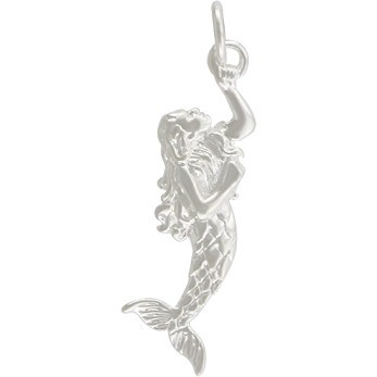 3D Mermaid Charm - Silver Plated Bronze DISCONTINUED