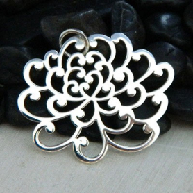 Large Chrysanthemum Charm - Silver Plate Bronze DISCONTINUED