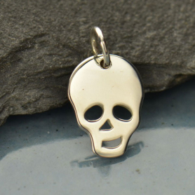 Flat Skull Charm - Silver Plated Bronze DISCONTINUED