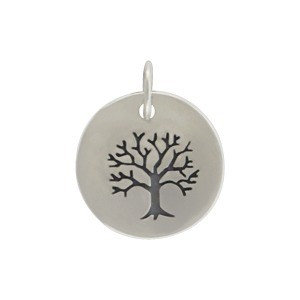 Silver Plated Bronze Tree of Life on a Round Charm 16x12mm