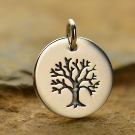 Silver Plated Bronze Tree of Life on a Round Charm -12mm