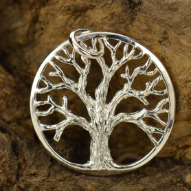 Med Textured Tree of Life Pendant - Silver Plated Bronze