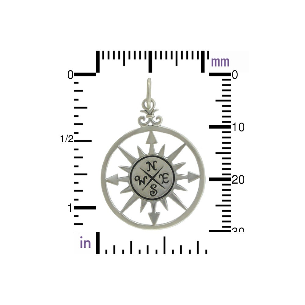 Compass Rose Pendant - Silver Plated Bronze 30x20mm