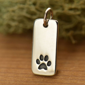 Paw Print Charm on RectangleSilver Plated BronzeDISCONTINUED