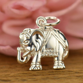 Elephant Charm - Silver Plated Bronze 17x13mm