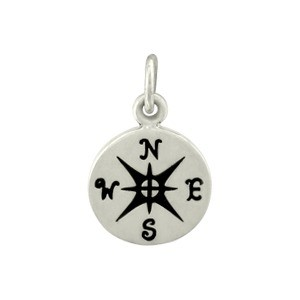 Silver Plated Bronze Compass Charm 16x10mm