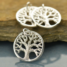 Sm Textured Tree of Life Charm - Silver Plated Bronze