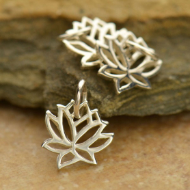 Tiny Lotus Charm - Silver Plated Bronze 12x9mm
