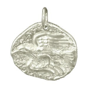 Ancient Eagle Coin Charm - Silver Plated Bronze DISCONTINUED