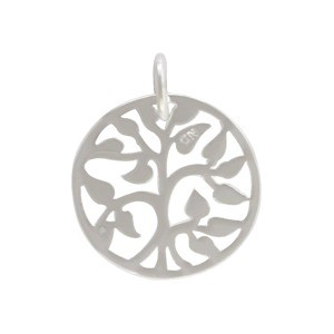 Small Tree of Life Charm - Silver Plated Bronze 17x13mm
