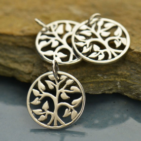 Small Tree of Life Charm - Silver Plated Bronze