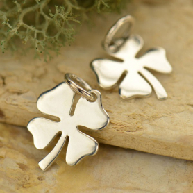 Medium Clover Charm - Silver Plated Bronze DISCONTINUED