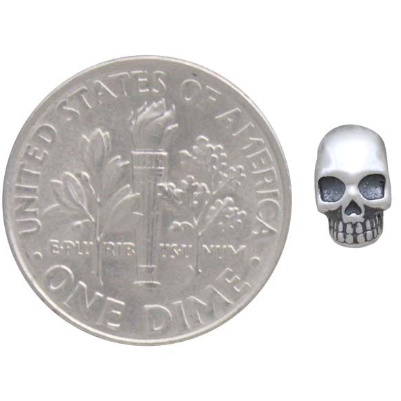 Sterling Silver Skull Solderable Charm 7x5mm