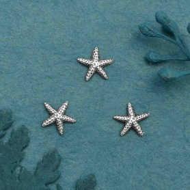 Sterling Silver Starfish Solderable Charm 7x7mm