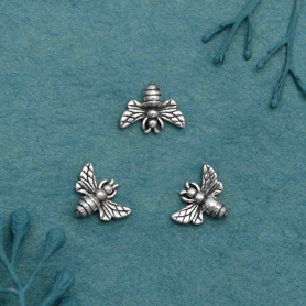 Sterling Silver Tiny Bee Solderable Charm 7x8mm
