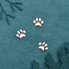Sterling Silver Puffy Paw Print Solderable Charm 5x6mm