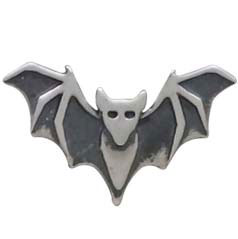 Sterling Silver Layered Bat Solderable Charm 6x10mm