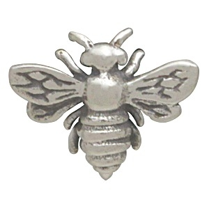 Sterling Silver Honey Bee Solderable Charm 9x11mm