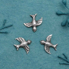 Sterling Silver Textured Bird Charm Embellishment