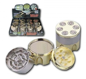 3TP - BULLET CLIP TOBACCO GRINDER, 12 PC DISPLAY, GOLDEN & S