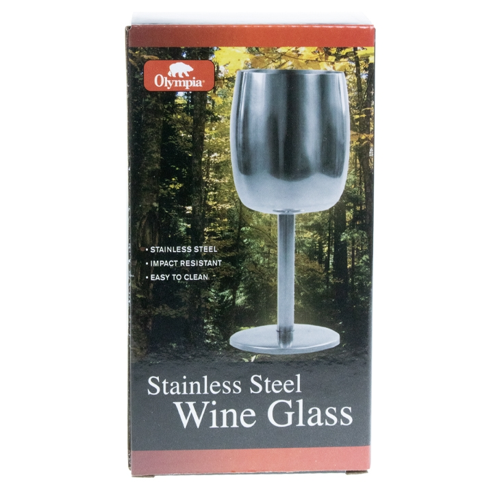 OLYMPIA - STAINLESS STEEL WINE GLASS, 240 ML