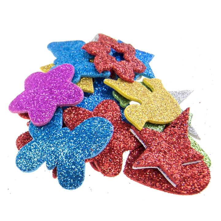 "DIY CRAFTS - 1 1/2"" FOAM SHAPES, 20PCS, GLITTER"