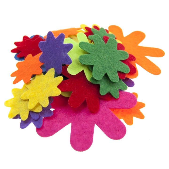 "DIY CRAFTS - 1 1/4"" X 1 3/4"" FELT FLOWERS, 40PCS, ASST COLOU"